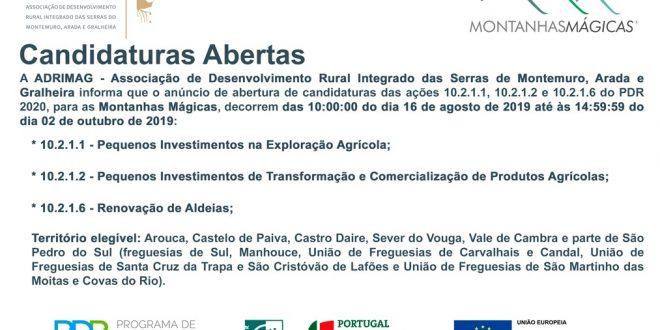 Pequenos Investimentos na Exploração Agrícola e na Transformação e Comercialização com candidaturas abertas na área da ADRIMAG