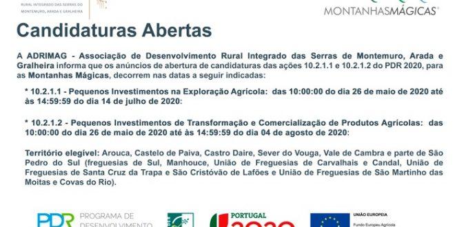 Candidaturas a Pequenos Investimentos abertas na área da ADRIMAG